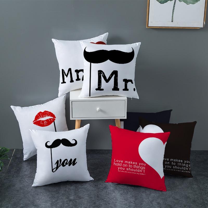 Fuwatacchi mr mrs palavras impresso travesseiro caso dia dos namorados presente capa de almofada nova para casa quarto sofá capa de almofada decorativa
