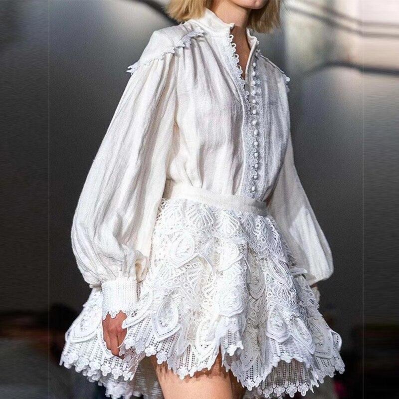 فستان قصير بتصميم أنيق من موديلات 2021 للنساء فساتين على شكل كعك بأكمام واسعة متوفرة باللون الأبيض والأسود
