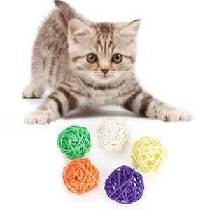 Pet Cats Ball Toys Kitty Colorful Rattan Wicker Cane Interactive Bite Resistant Molar Chew Toy Cleaning Pet Cat Teeth