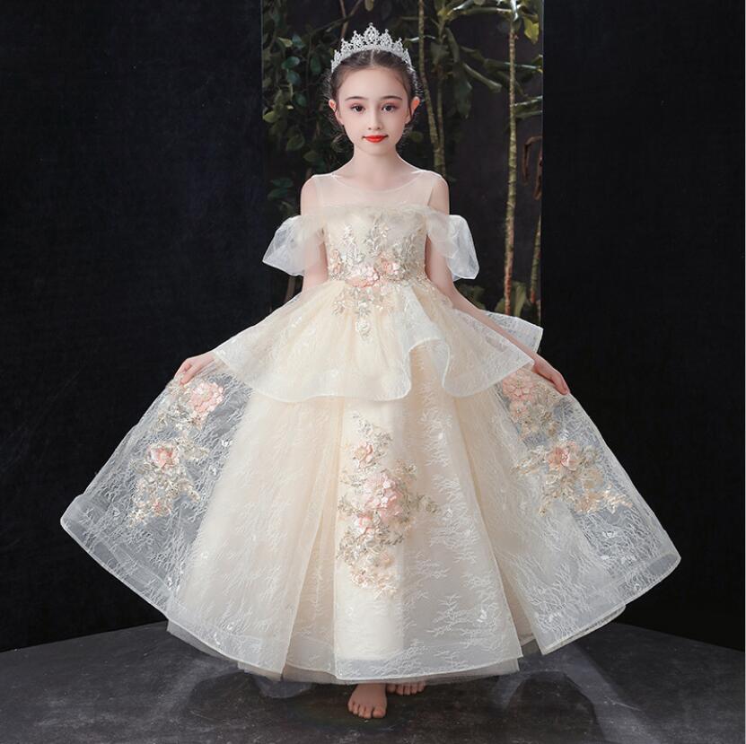 Champagne Girls Kids Wedding Flower Girl Dress Princess Party Pageant Dresses Sequins Appliques Girl Evening Dress Long Vestidos