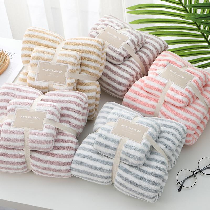 LREA, 1 toalla de baño + 1 Conjunto de toallas de cara, forro polar Coral, toallas de playa de absorción rápida de agua de 35*75cm + 70*140cm