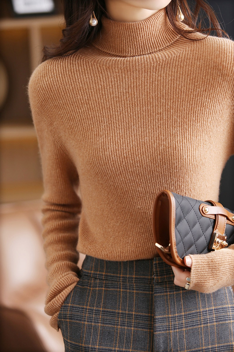 2021 fall/winter new women's pullover casual solid color turtleneck wool sweater plus size knitted cashmere sweater ladies top enlarge