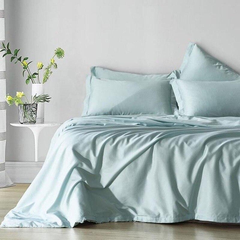 القطن الأزرق طقم سرير حاف الغطاء الملكة الملك الحجم بلون غطاء لحاف مع المخدة