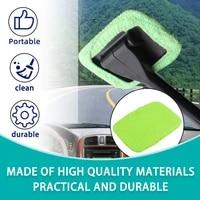 greenblue microfiber long handle car wash brush auto window clean car window windshield cloth clean tools washable shine handy