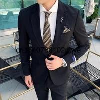 fashion mens suit two piece bridegroom best man dress korean slim suit
