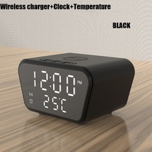 Smart Clock Qi Wireless Charger Digital Temperature Display Table Electronic Thermometer Alarm Clock