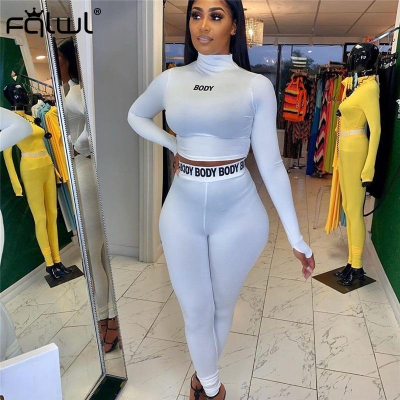 FQLWL White Black Fitness 2 Piece Set Women Suit Sportwear Summer Outfits Long Sleeve Crop Top Leggings Ladies Tracksuit Female