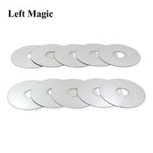 Ensemble de CD de Manipulation (1 ensemble = 10 CD, Standard, couleur argent),CD apparaissant de la main vide, tours de magie, accessoires, Gimmick, scène, comédie