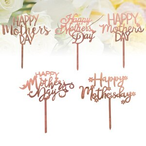 10pcs Mothers Day Cake Toppers Letter Cake Picks Cake Decoration Cupcake Toppers Party Dessert Insert Favor (Five Patterns)