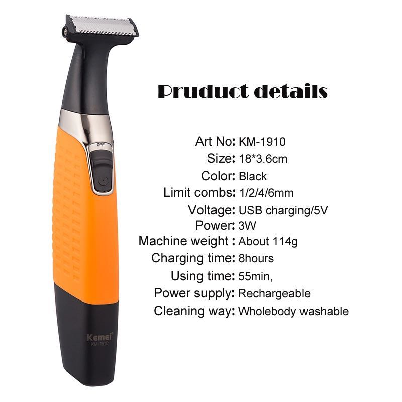 Kemei Electric Shaver Beard Shaver Rechargeable Electric Razor Body Hair Trimmer Men Shaving Machine Hair Clipper Face Care enlarge