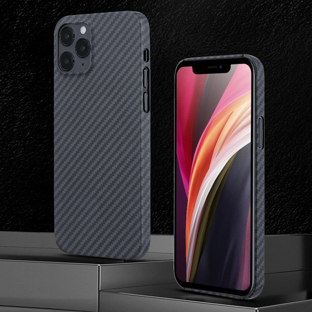 0.7mm Ultra Thin Aramid Fiber Case for iPhone 12 Pro Max 12Pro Carbon Fiber Cover for iPhone 12 Mini 11 XS Max XR 11Pro Shell
