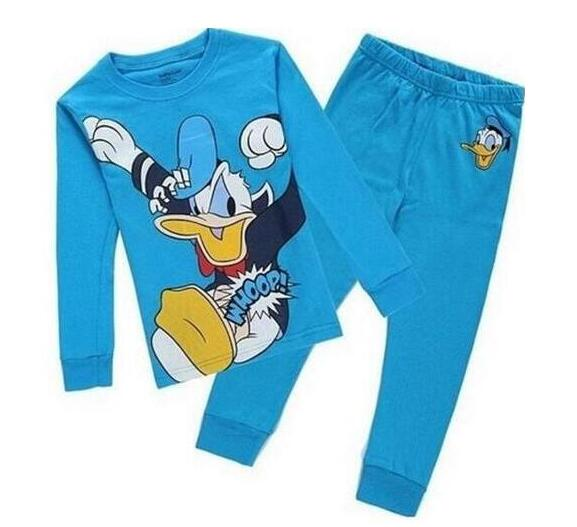 Cotton Children's blue duck Pajamas Set Warm Baby Girls Boy Clothes Cartoon Kids Sleepwear Long Sleeve Tops+Pants 2Pcs Underwear
