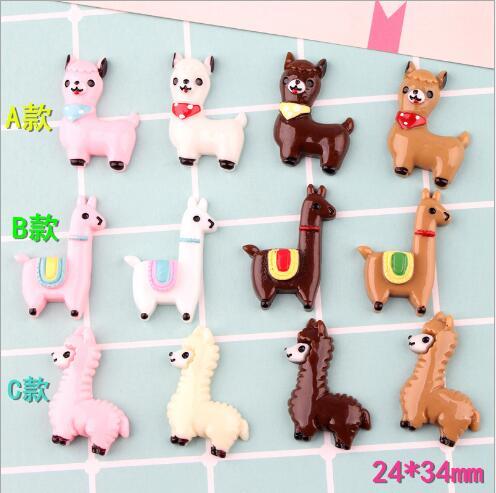 10 piezas/lote resina plana de Alpaca dibujos animados animales kawaii resina cabujón Accesorios