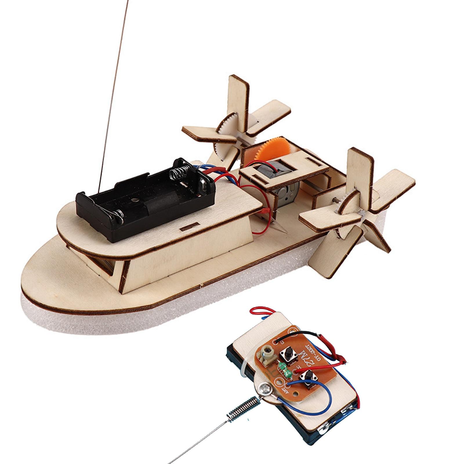 Students DIY Paddle Wheel RC Boat Ship Assembling Model Remote Control Educational Toys Material Kit