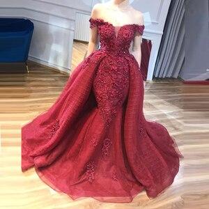 Burgundy Long Evening Dresses Elegant Off Shoulder Beading Mermaid Formal Evening Gowns Abendkleider With Watteau Train