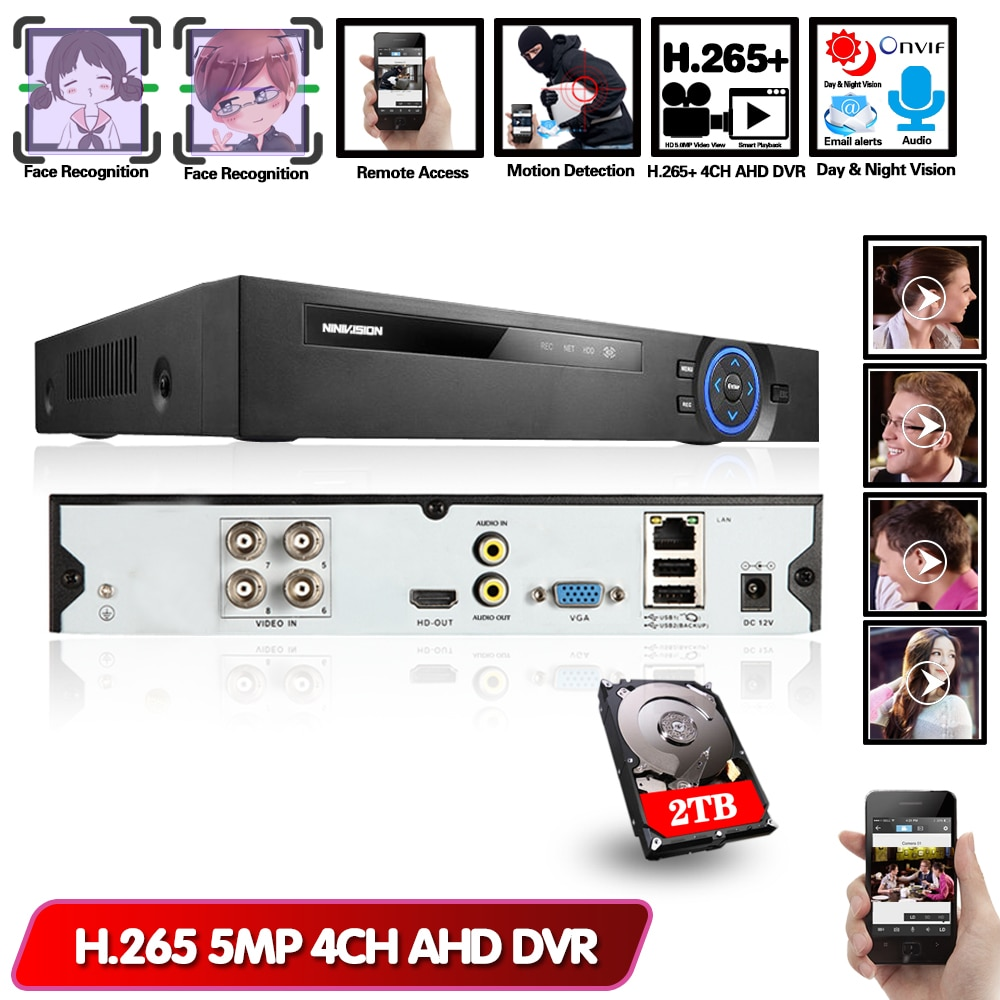 AI Face Detection 4CH AHD DVR Recorder H.265 5MP 4MP 1080P 8 Channel 6 in 1 Hybrid DVR XVi TVi CVI IP NVR For Home CCTV Camera 8 channel ahd video recorder h 265 5mp 4mp 1080p 5 in 1 hybrid dvr 8ch wifi xvi tvi cvi ip nvr for home cctv camera surveillanc