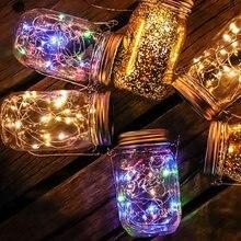 10 LEDs veilleuses Mason Jar couvercle lampe chambre décor enfant cadeau Luminaria lumière chaude énergie solaire charge nuit éclairage lampes