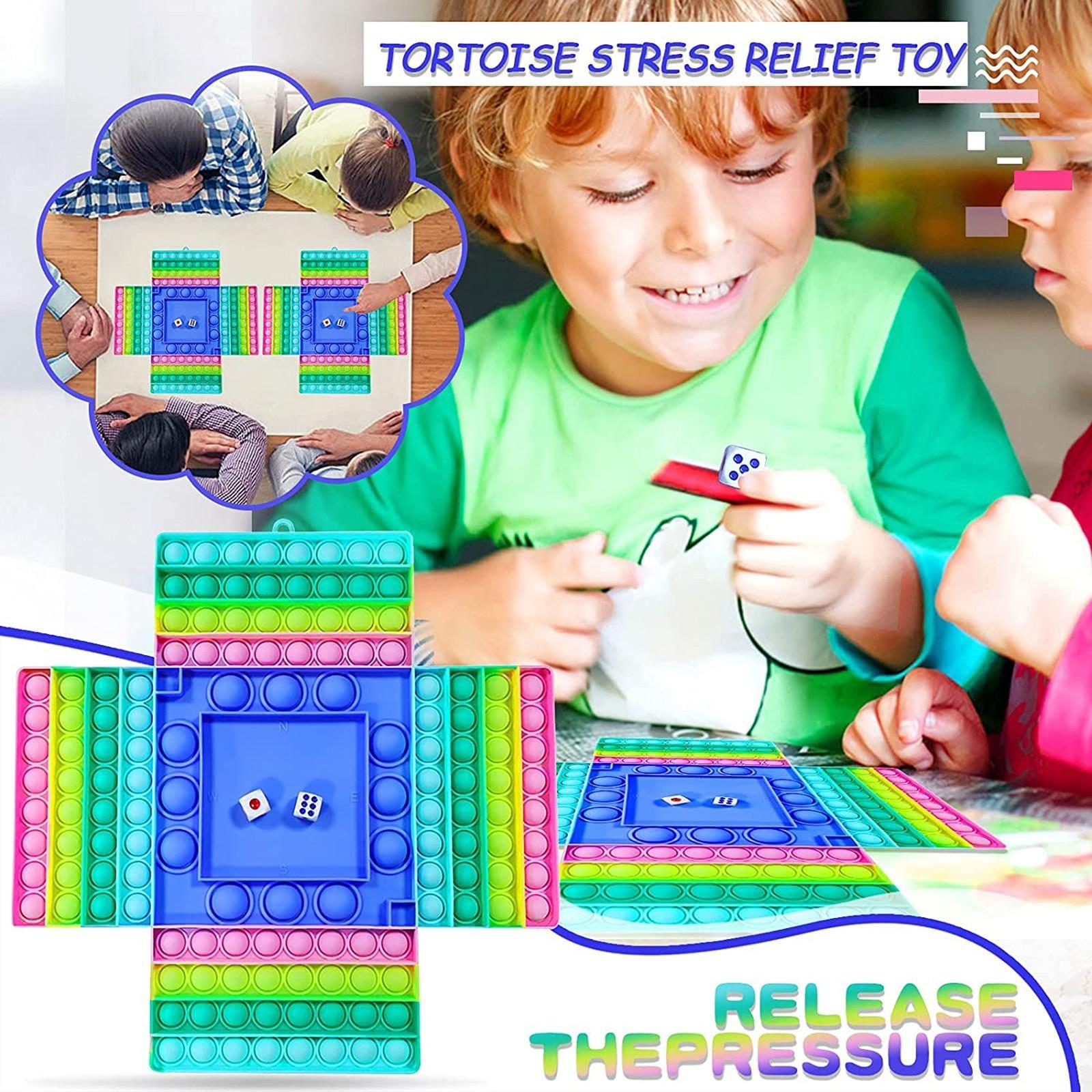 Big Size Fidget Toys Rainbow Chess Board Big Poper Push Bubble Simple Dimple Board Pendant Stress Relief Games Pop pet