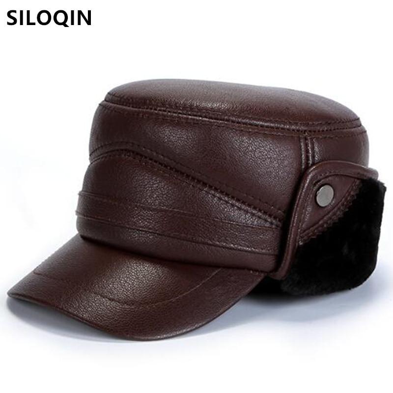 SILOQIN الطبيعية حقيقية قبعة من الجلد الرجال الشتاء الدافئة الجيش القبعات العسكرية الرجال قبعات مسطحة سميكة زغب الغنم قبعة جلدية أبي قبعة
