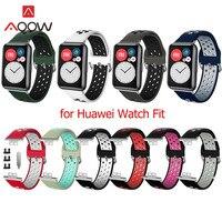 Силиконовый спортивный ремешок, дышащий браслет с отверстиями для часов Huawei, подходит для фитнеса, умные часы для мужчин и женщин, сменный р...