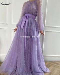 Haute Couture Lavendar Evening Dresses Long Pearls Long Sleeves Formal Celebrity Dresses Evening Wear Photography Gowns Vestidos