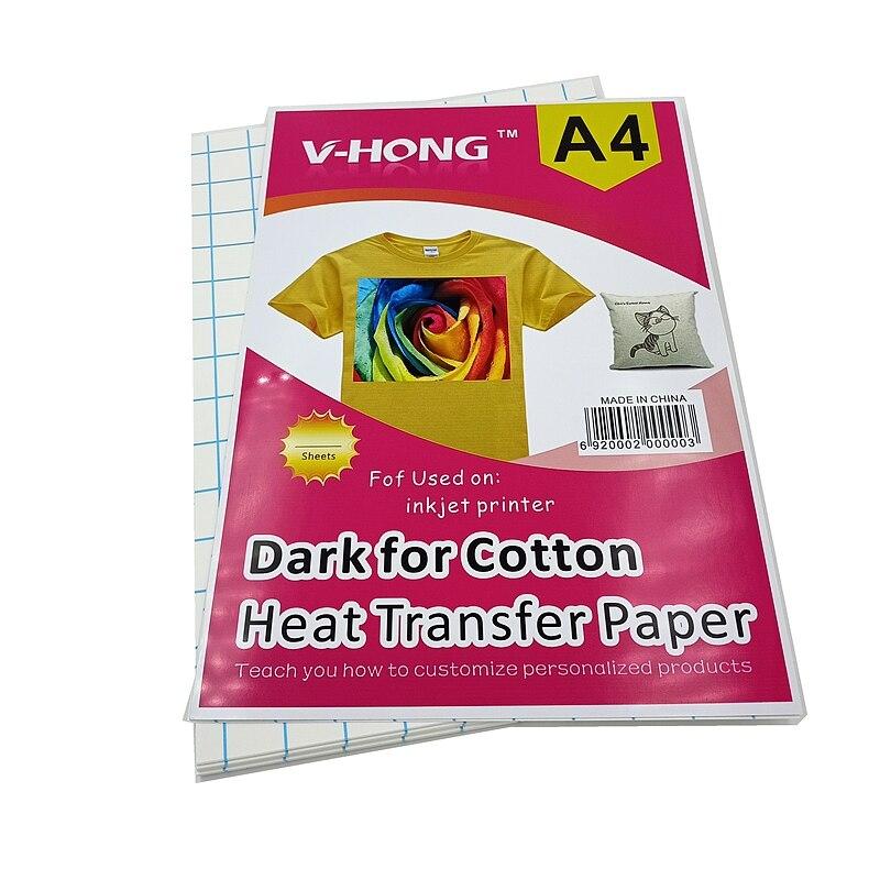 Тёмная хлопковая Термотрансферная бумага (29,7*21 см), самоотвердевающая бумага A4, Термотрансферная печать, сублимационная бумага