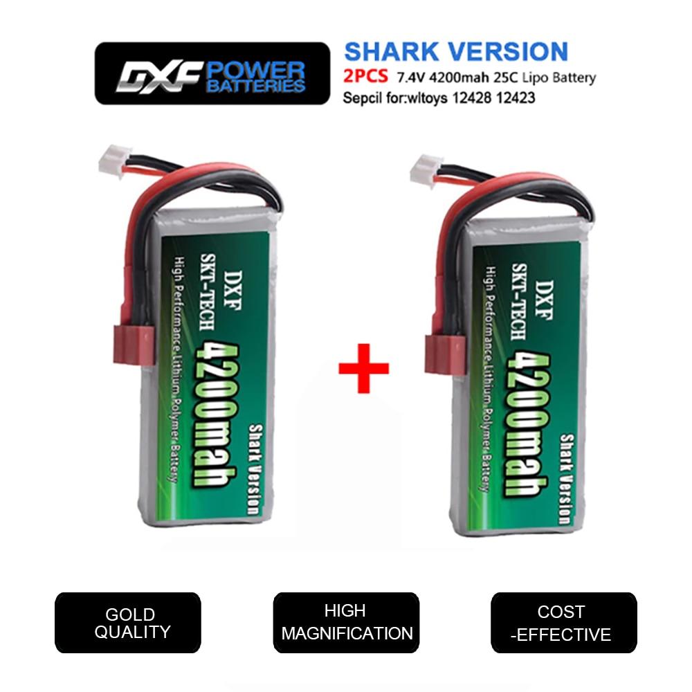 2 uds DXF RC batería Lipo 2s 7,4 V 2700mAh 4200mah 20C Max 40C para Wltoys 12428 feiyue 03 JJRC Q39 piezas de mejora