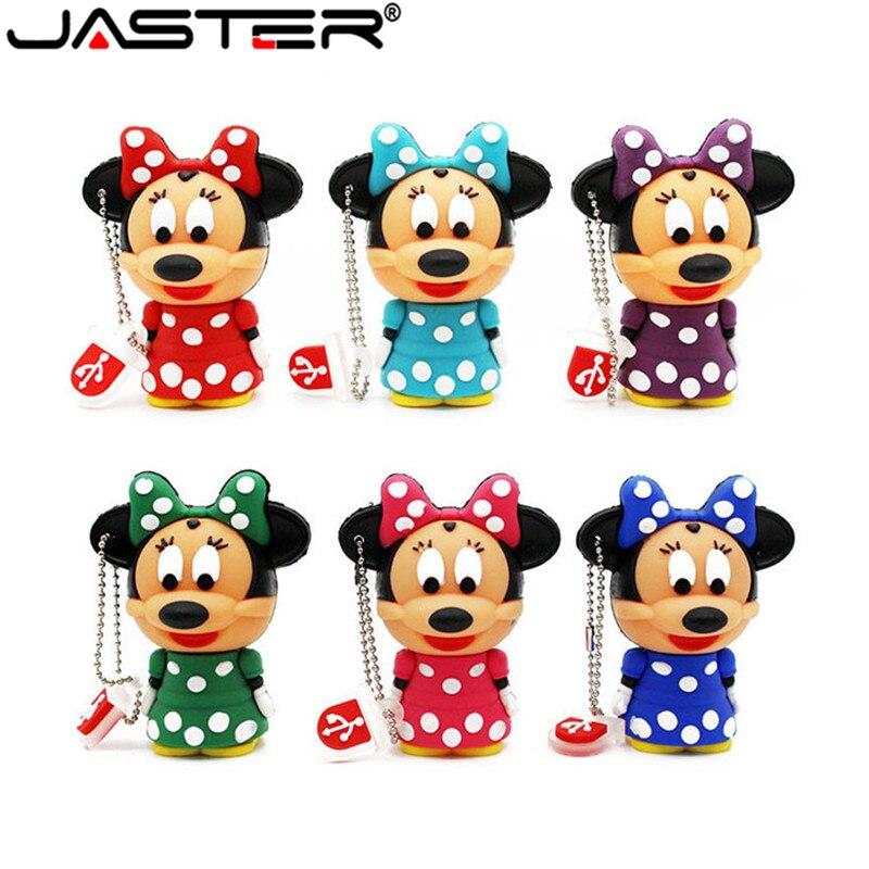 JASTER lindo Mickey Minnie mouse USB Flash Drive 2 GB 4GB 8GB 16GB 32 GB 64 GB USB Stick Almacenamiento de memoria externa pluma 6 colores