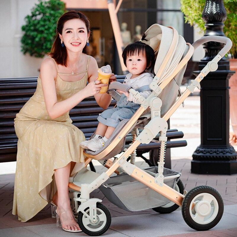 2021 Lightweight Luxury Baby Stroller 3 in 1 Portable High Landscape Reversible Stroller Hot Mom Pink Stroller Travel Pram enlarge