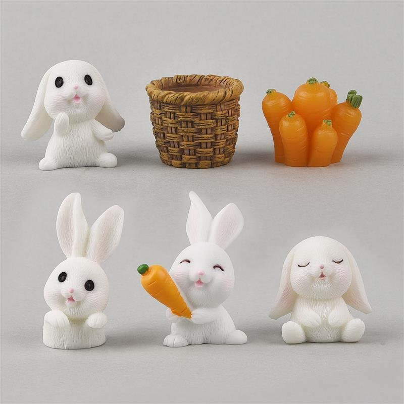 6pcs/Set Lovely Rabbit Model Cartoon Animal Figurine Dollhouse Miniature Fairy Garden Decoration Resin Casting Mold Fillers недорого