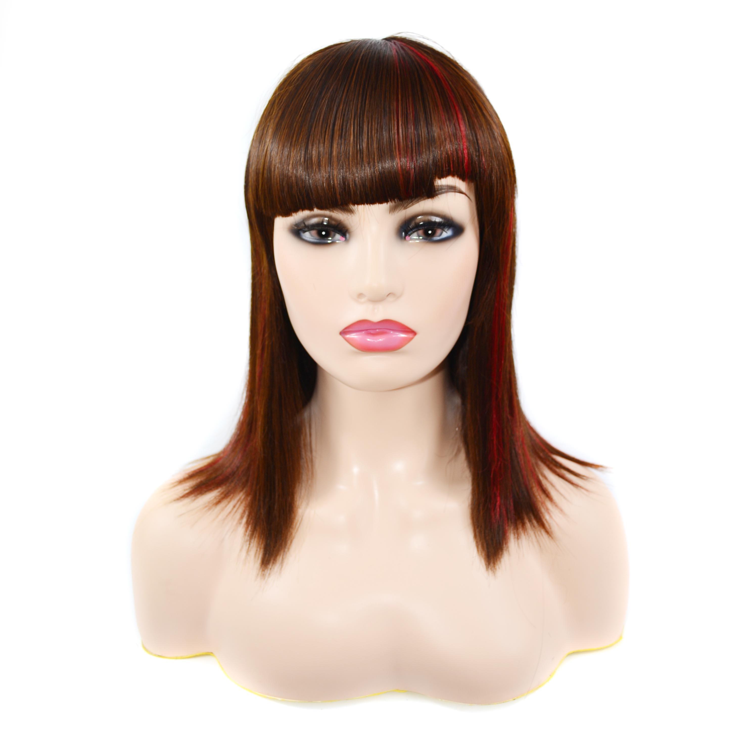 zm cabelo castanho claro e vermelho curto peruca de cabelo medio longo em linha reta