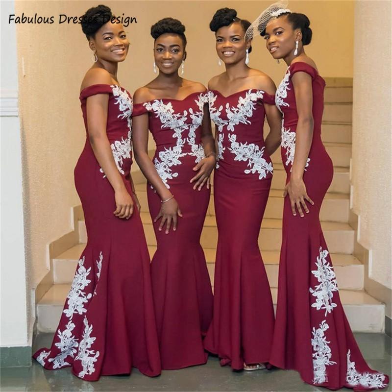 Burgundy Mermaid Bridesmaid Dresses 2020 African Women Off Shoulder Vestidos Long Sweep Train  Formal Wedding Party Dress