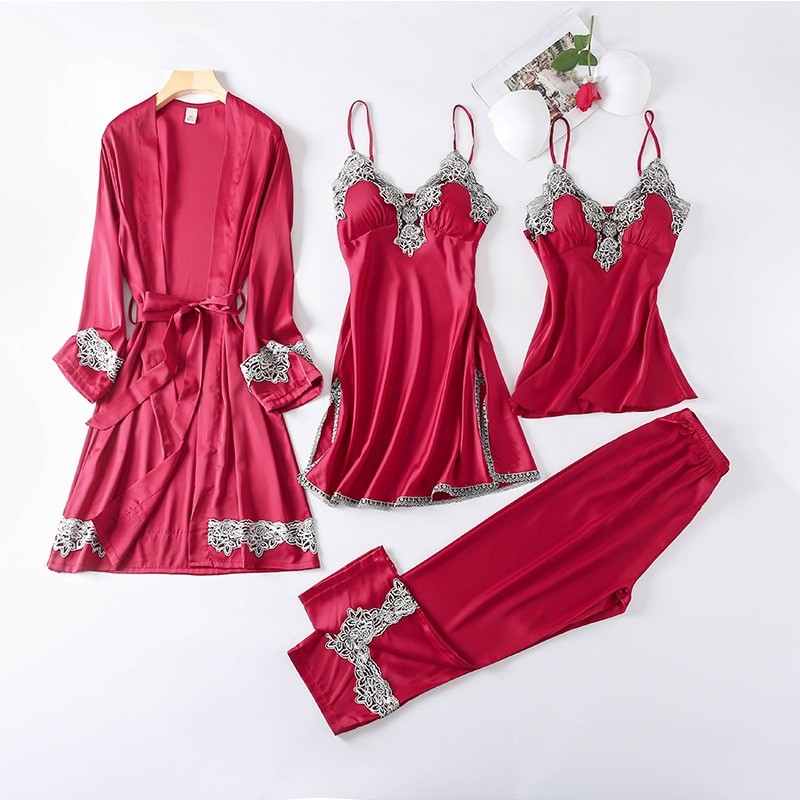 Rayon Sleepwear Female with Chest Pads Sexy Women Pajamas Lace Silk Sleep Lounge 4 Pieces Sets Ladie
