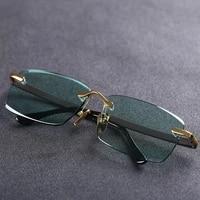 evove stone sunglasses male green natural crystal sun glasses for men rimless oversized anti eye dry shades