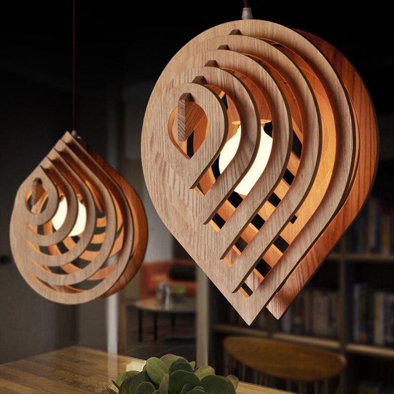 Lámpara colgante de madera moderna E27, lámpara colgante nórdica de madera con forma de gota para agua, lámpara de Loft, luces para comedor, iluminación para el hogar, decoración