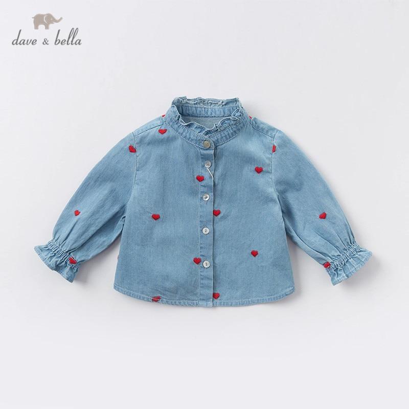 DB12975 dave bella/весенние милые рубашки с рюшами и вышивкой для маленьких девочек; топы для малышей; детская одежда высокого качества|Блузки и рубашки| | АлиЭкспресс