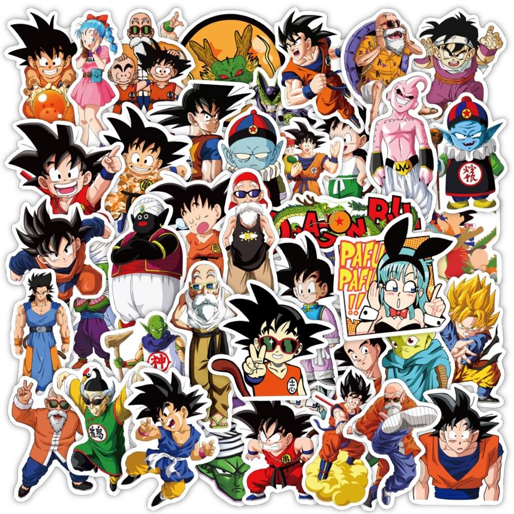 50 pcs Dragon Ballz Japanese Anime Vinyl Waterproof Stickers for Kids Teens Adults Luggage Laptop Bike Skateboard Supplies