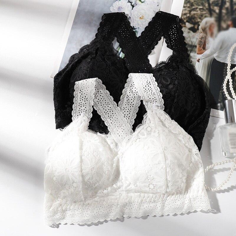 Женский сексуальный кружевной бюстгальтер пуш-ап с перекрестной спинкой, однотонный, черный, белый, с подкладкой, с вырезами, с цветочным ри...