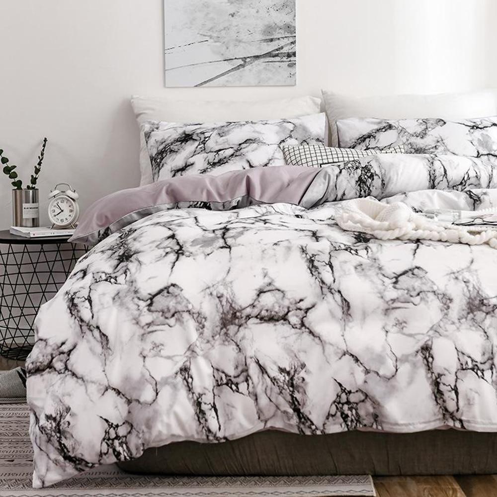 Yatak odası yatak, rahat bir beyaz mermer desen baskılı nevresim kapağı (2/3 adet Set), tek ve çift süper büyük