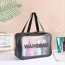 Sac cosmétique grande capacité PVC Transparent givré sac de plage étanche voyage Portable sac de toilette sac de rangement