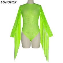 Women Neon Green Tassels Sleeve Fringe Bodysuit Sexy Hollow Out Stage Costume Bar Nightclub DJ Pole Dancing Dance Bodysuits