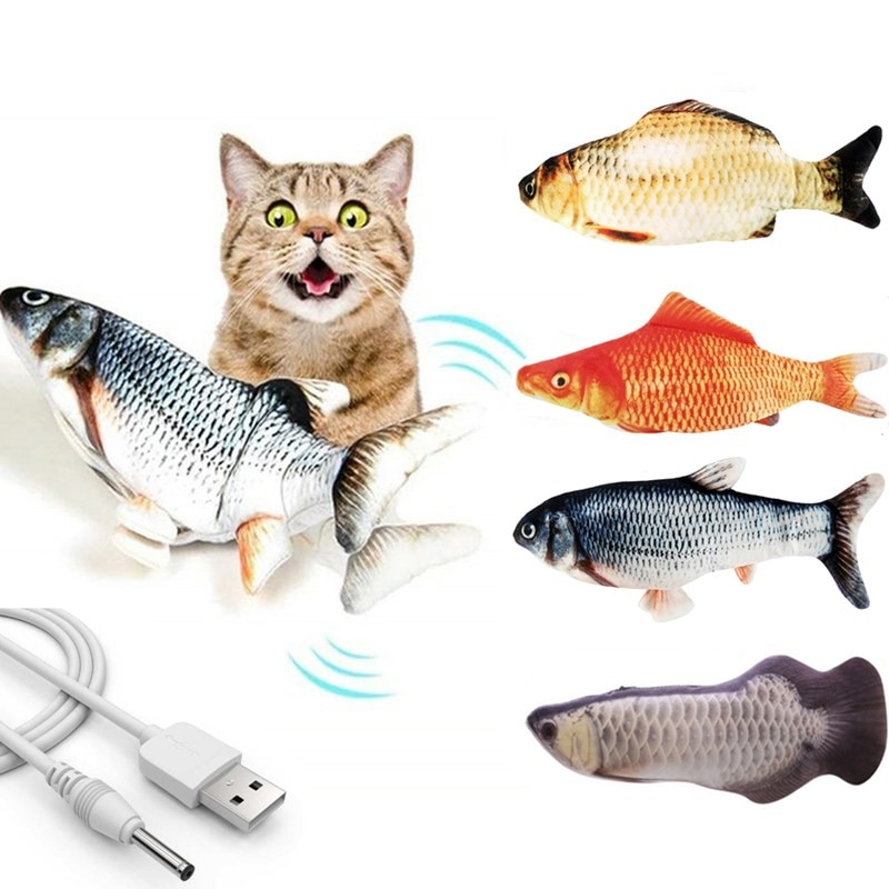 2021 New 30CM Cat Wagging Catnip Toy Dancing Moving Floppy Fish Cats Toy USB Charging Simulation Cat