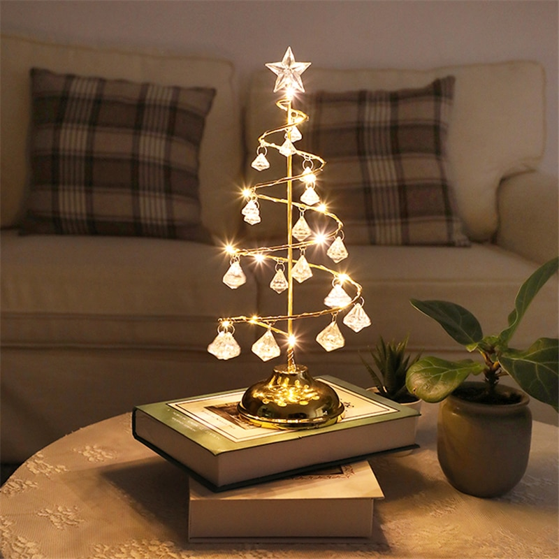 skidproof christmas lighting tree pattern rug Crystal Christmas Tree Christmas Lights Fairy Lights Night Light for Bedroom Wedding Christmas Ornaments Led Lighting Home Decor
