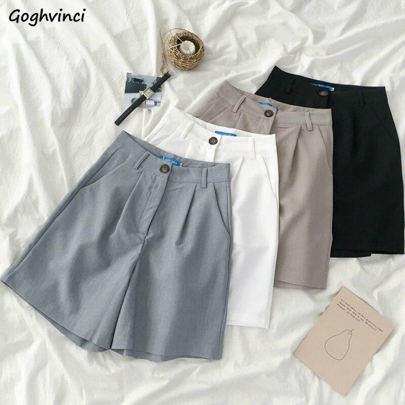 Pantalones cortos Mujer verano Blazer liso Simple botón Fly Office Lady Ins cintura alta mujeres sueltas estilo coreano todo-fósforo nuevo ocio