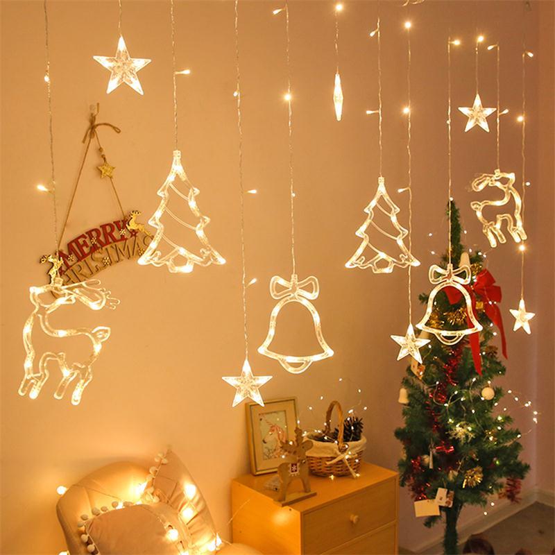 Рождестволық шамдар 3,5 м перделік жарық гирлянды жұлдызды қоңырау безендірілуі үйге арналған 220В ертегі шамдары ашық / жабық жарық