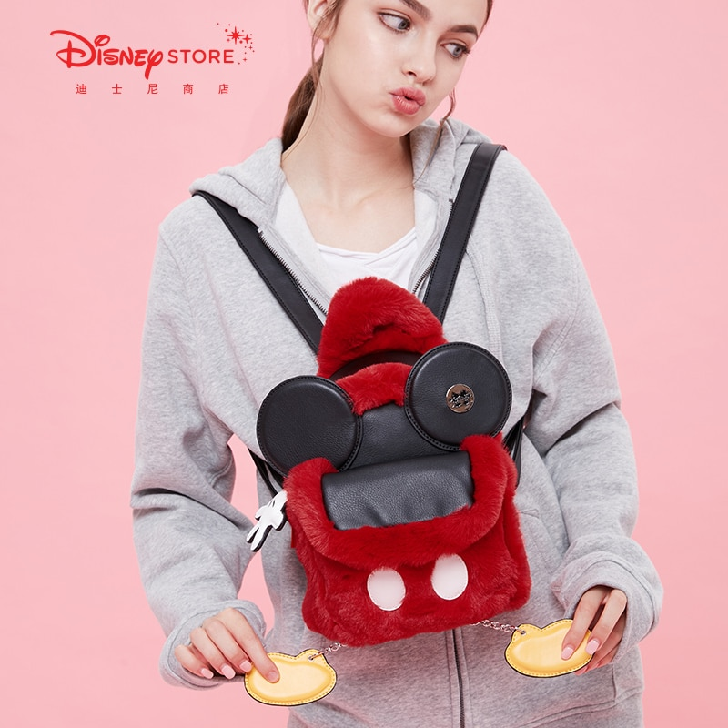Authentic Disney Official FLUFFY Mickey Plush Backpack Female Backpack Cute Plush Bag Oblique Bag