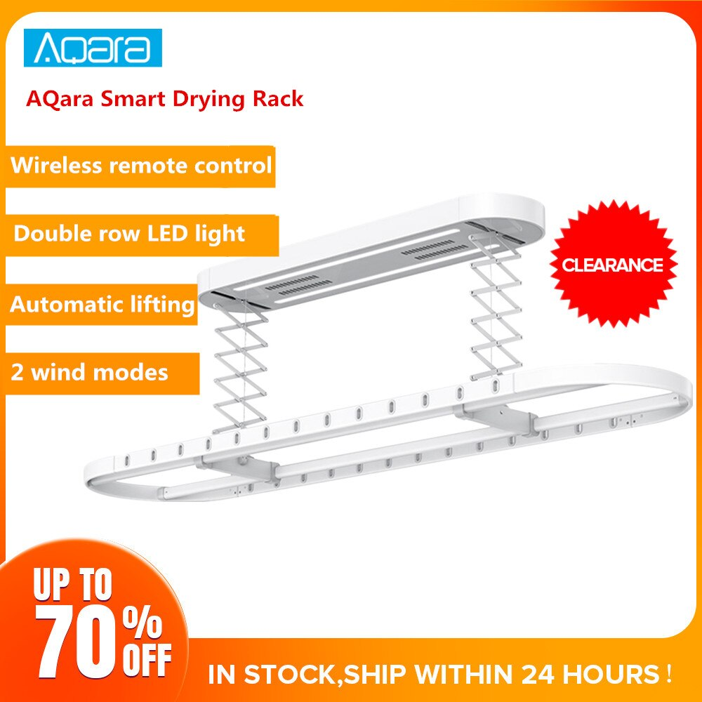 Aqara Smart Drying Rack Remote Control Automatic Lifting Air Indoor 35kg Loading Mi Home APP Intelligent Linkage Control BigSale
