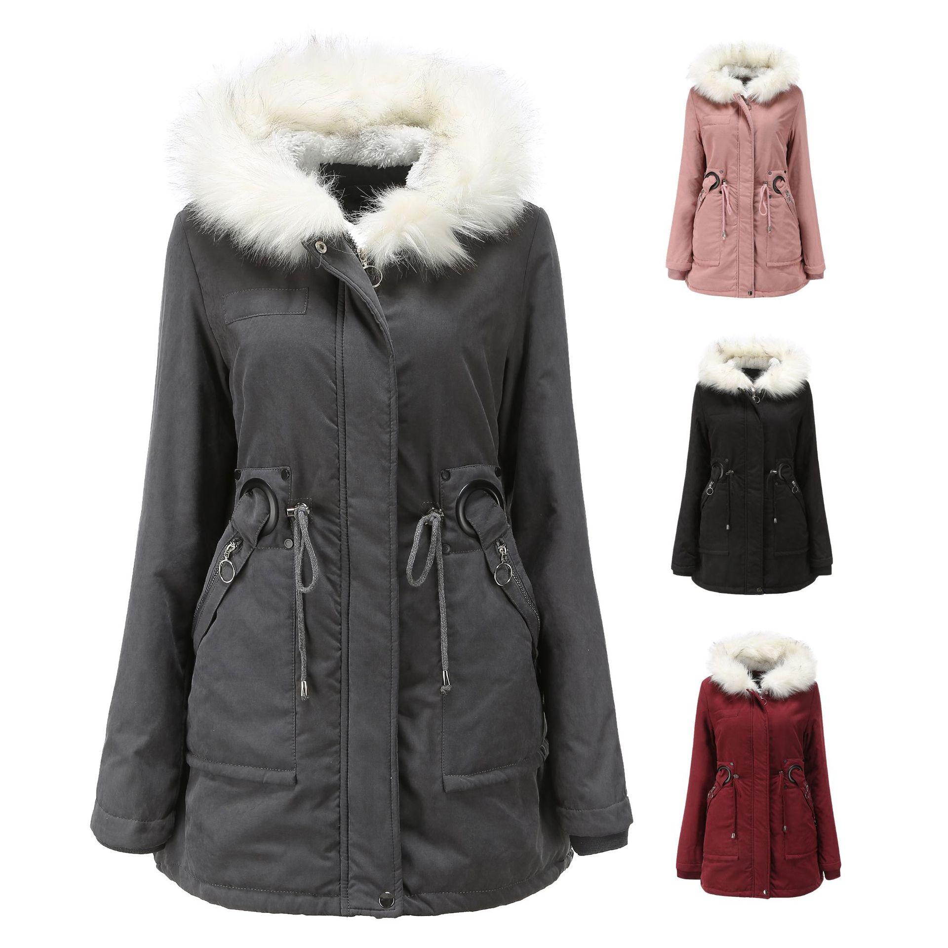 Фото - Новое хлопковое пальто женское средней длины с капюшоном и меховым воротником зимнее теплое бархатное пальто женское хлопковое пальто для ... пальто средней длины с капюшоном