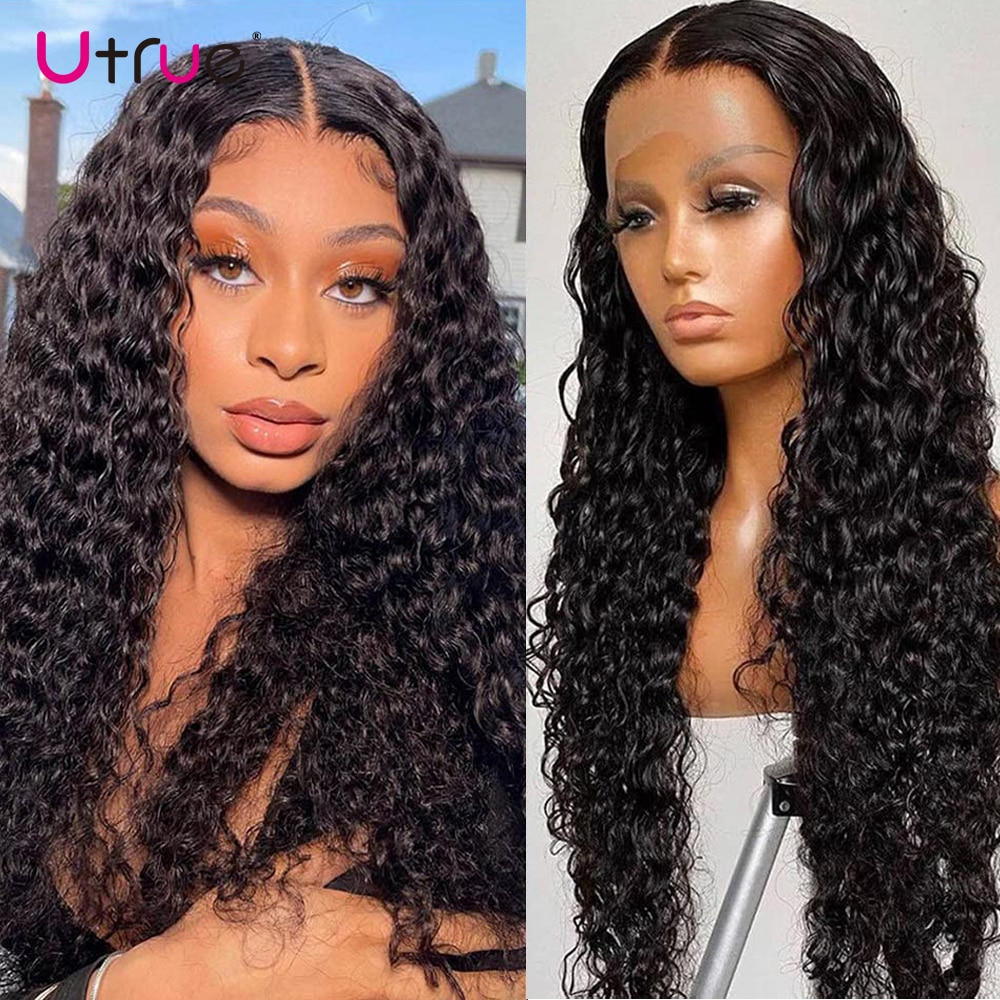 Deep Wave Frontal Wig 13x4 Natural Black Lace Front Human Hair Wigs Pre Plucked For Women Brazilian Curly Wig