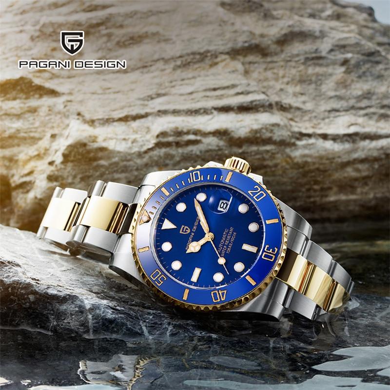 PAGANI дизайнерский бренд NH35 автоматические механические мужские часы спортивные 100 м водонепроницаемые спортивные мужские сапфировые наручные часы Relogio Masculino